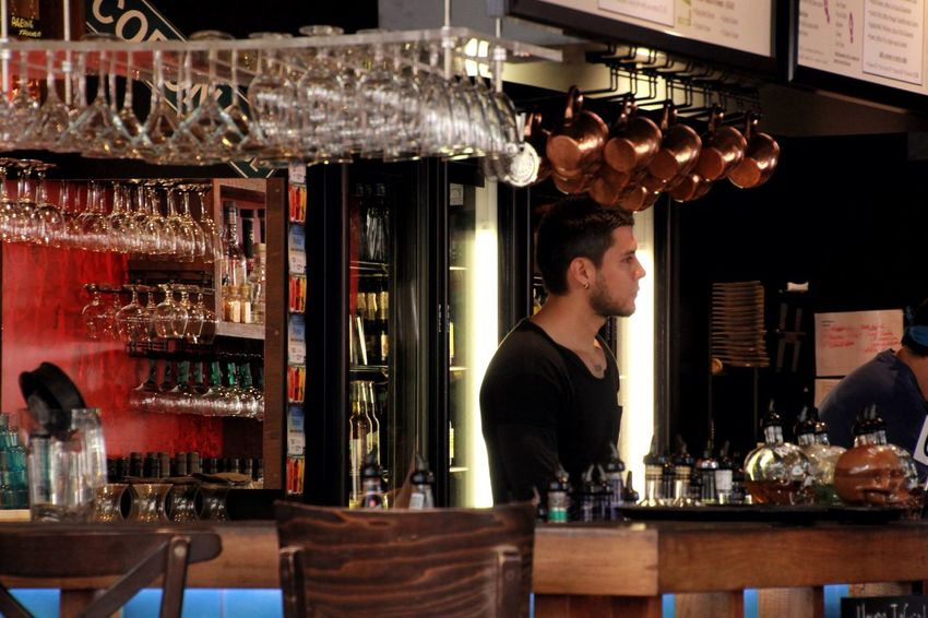 Barman Barman Bar Service Area Small Business South Bank, Brisbane, Queensland !  EyeEmAustralia Australia Working Male People Photography The Color Of Business Welcome To Black