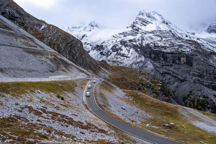 Strada del passo dello at passo dello stelvio on october at bormio italy.