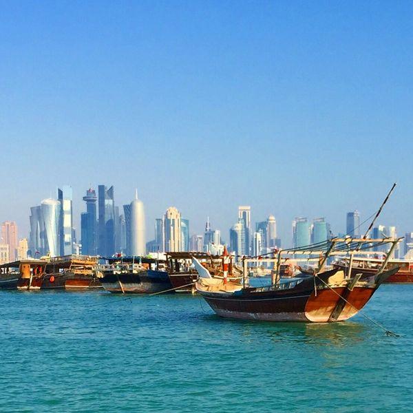 Doha Skyline Doha,Qatar Doha Corniche Dhow Boat Ride