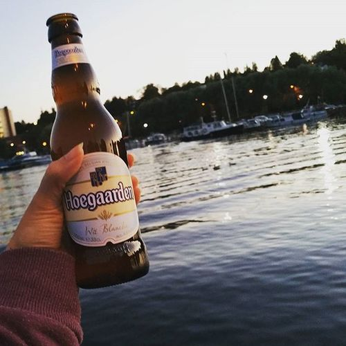Boyfriend, view, beer. Totally blast!Beer Hoegaarden Weekend Lake Harbour Kuopio Kuopionlahti Finland Evening Night Landscape