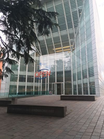 Architecture Built Structure Building Exterior Tree No People Day Building Plant Footpath Outdoors Absence Glass - Material Nature City Entrance Street Window Sunlight Empty Wall Tiled Floor Museion Bolzano - Bozen Italy Museum Of Modern Art