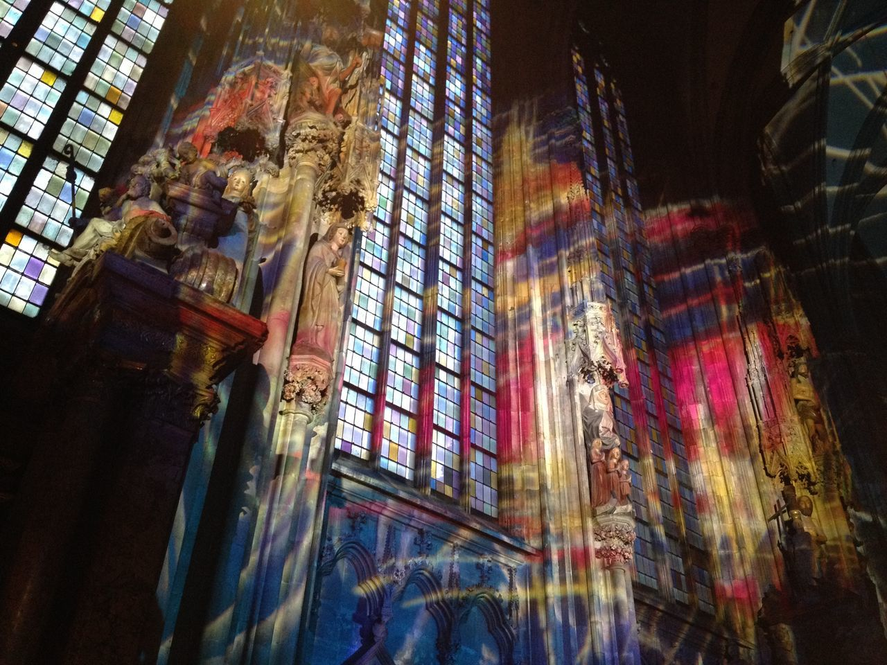 Multi Colored Sunlight On Cathedral Wall