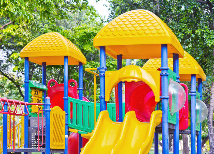 Yellow toys in park