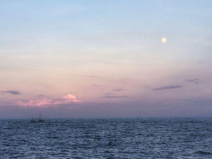 Sea Sky Sea And Sky Fishing Boat Moon