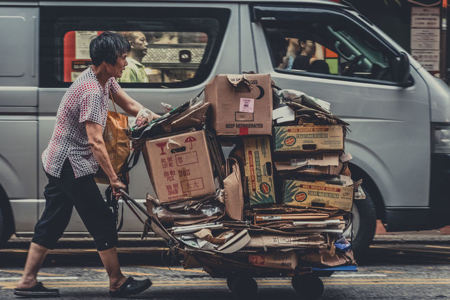 Hong Kong Rubbish Street Life Worker Carton Box Laborer Recycling Street Photography Urban