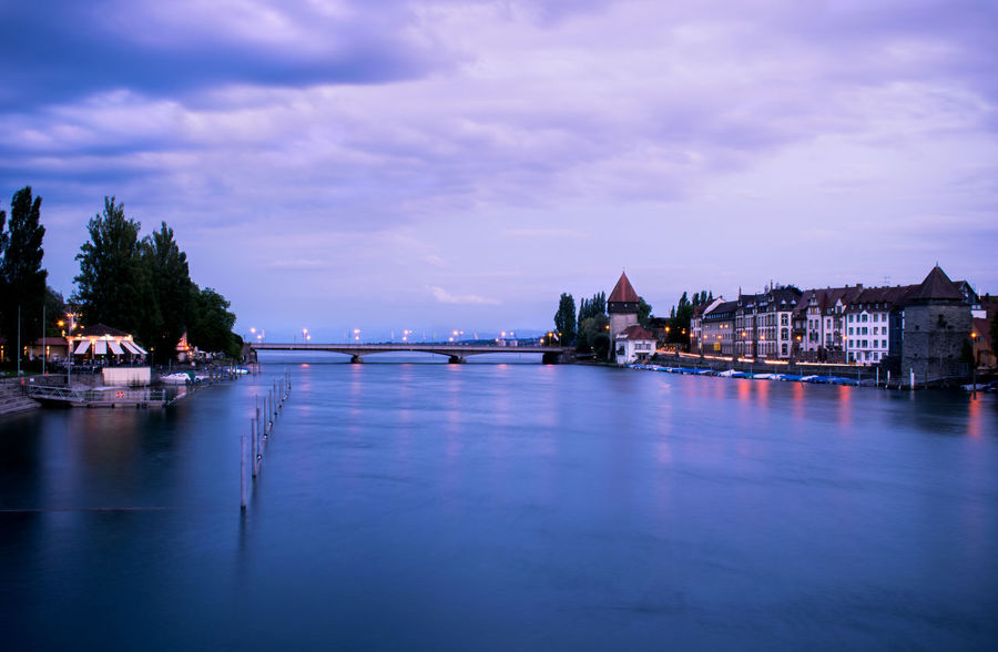 Architecture Beauty In Nature Bridge Bridge View City Cloud - Sky Constance Germany Illuminated Konstanz Lakeconstance Nature Outdoors River River View Sky Sunset Travel Destinations Water Waterfront