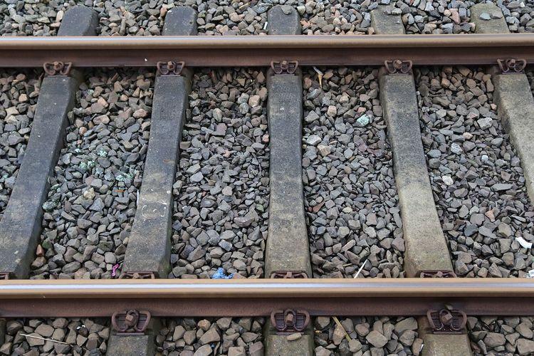 High angle view of railroad tracks