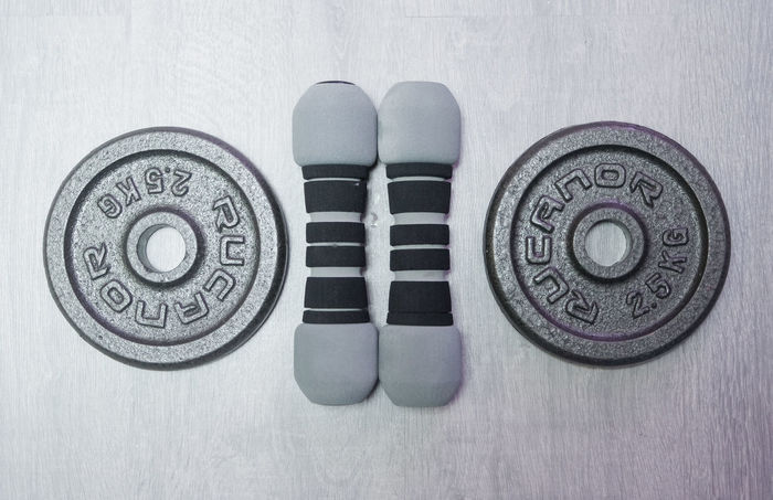 Close-up Dumbbells Equipment Fitness Heavy Home Gym Lifting Weights Old Powerful Sport Equipment Wellness Workout Time The OO Mission