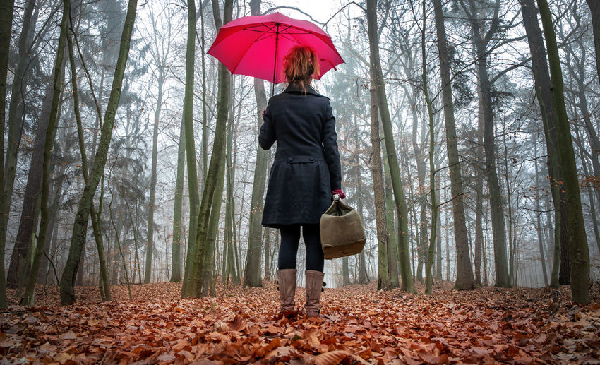 Full length of man holding umbrella in forest
