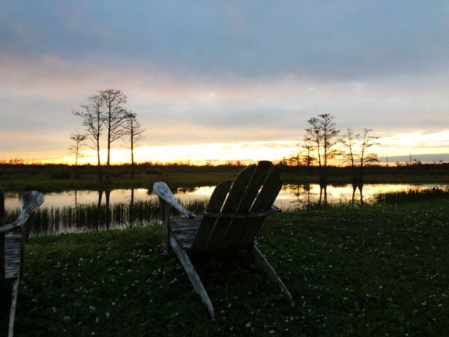 Chair and sunset in the swamp Retirement Tranquil Scene Nature Beauty In Nature Tranquility Sky Grass Sunset No People Scenics Landscape Chair Outdoors Cloud - Sky Lake Water