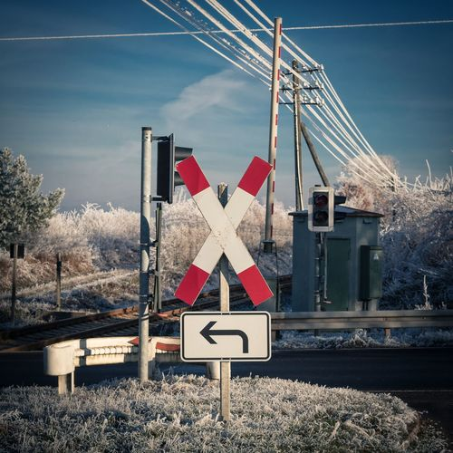Crossing... Red Transportation Road Sign No People Outdoors Crossing Sign Sky Day Blue Sky Rail Transportation Tracks Cold Temperature Frost Landscape Winter Wonderland Wintertime Fulda Germany Hessen Canon Canonphotography Canon EOS 1300D Lightroom Transportation