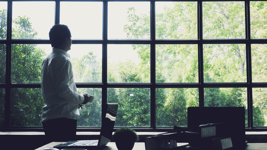 Window Real People Indoors  Glass - Material Rear View Standing One Person Transparent Tree Day Sitting Men Lifestyles Plant Three Quarter Length Looking Through Window Table Adult Leisure Activity Contemplation