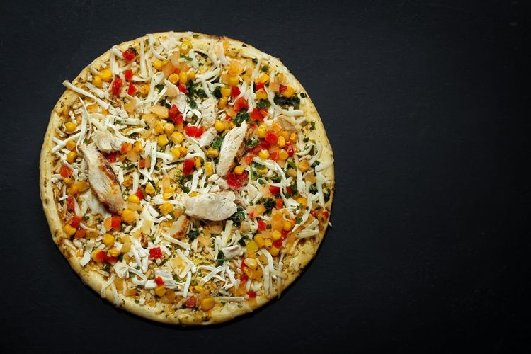 Chicken Fajita Pizza ready to bake Chicken Fajitas Copy Space Baking Black Background Close-up Directly Above Food Food And Drink Freshness Indoors  Isolated On Black Italian Food Mexican Food No People Overhead View Pizza Ready To Bake Ready-to-eat Studio Shot Top Down