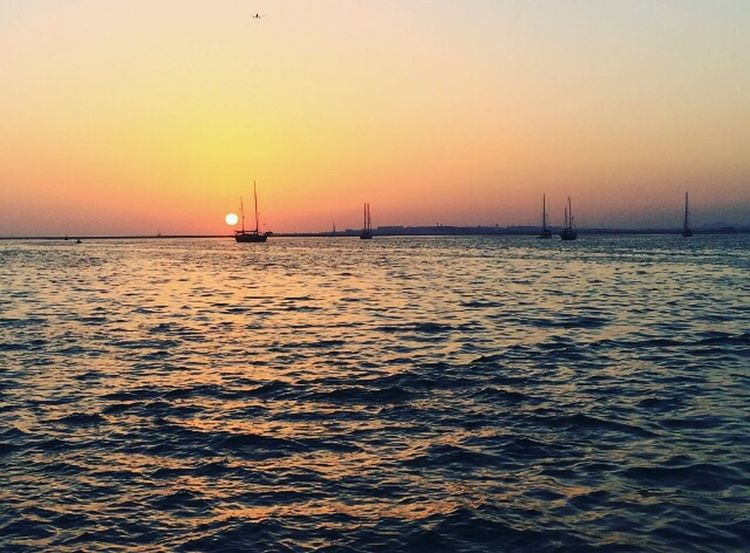Sunset Sea Sky Horizon Tranquility Water Nautical Vessel Nature Beauty In Nature Algarve Portugal