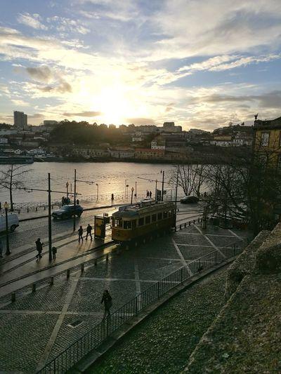 Apanhar o eléctrico no Infante Porto Portugal Porto Rio Douro Travel Destinations Water Sunset Reflection Sky Lake Outdoors Day City