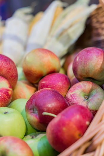 Close-up of apples for sale at market stall