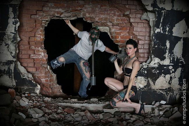@melvinmaya @mmpstudios_com Artistic Beautiful Destruction HighHeels Houston Models Texas Brick Casual Clothing Colorful Creative Emotion Followme Gorgeous Grunge Lingerie Mask Photographer Photography Real People Tattoos Two People Wall