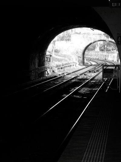 Black And White Blackandwhite Thisio Subway Station Rails Tunnel Athens, Greece Athens