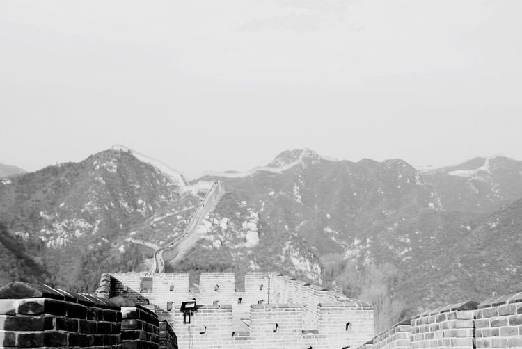 Great Wall Of China Mountain Built Structure Architecture Mountain Range Building Exterior House Day High Angle View Outdoors No People Snow Clear Sky Nature Beauty In Nature Sky