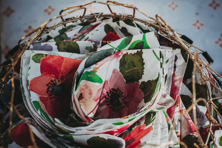 Close-up of paper decorations