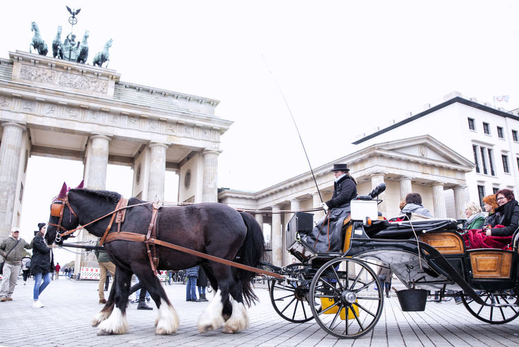 Architecture Building Exterior Built Structure Clear Sky Day Discover Berlin Domestic Animals Horse Horse Cart Horsedrawn Incidental People Mammal Men Mode Of Transport One Animal Outdoors Real People Sky Transportation Working Animal