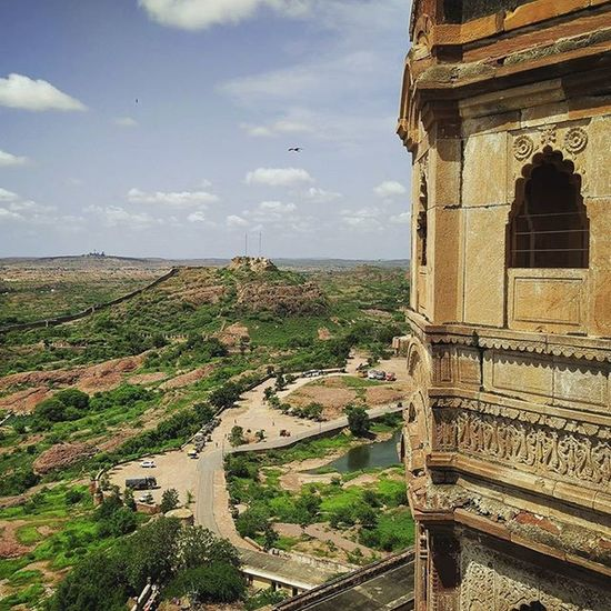 Another view from the top of Meharangarh Fort. That's the road that leads to the fort.