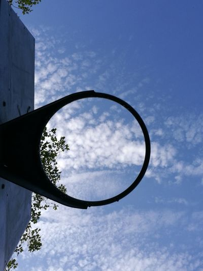 Looking Up Abstract Summer Salad Days Blue Sky Clouds And Sky No People Circle Sky Basketball Hoop Geometric Shape Directly Below