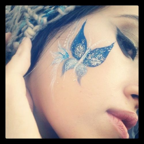 Free Facepainting @ Rainbowcafe Face painting egyptiangirl blue makeup selfie cafe day sunny fun woman butterfly glitter