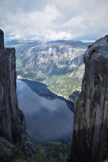 Norway Kjerag Kjeragbolten Lysefjord Fjord Mountain Beauty In Nature Cloud - Sky Outdoors Hiking Hiking Adventures Scandinavia Stavanger Traveling Scenics - Nature Sky Rock Landscape Idyllic