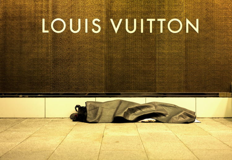 Japan Louis Vuitton Homeless Person Homelessness  Lying Down Sleeping Sleeping Rough Storefront Tourism