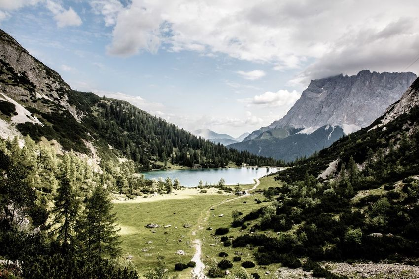 Mountain Nature Sky Scenics Tranquility Tree Tranquil Scene Beauty In Nature Lake Water Landscape No People Cloud - Sky Mountain Range Day Outdoors Zugspitze Wanderlust Hiking Austria Tyrol Walden Seebensee This Week On Eyeem Peak