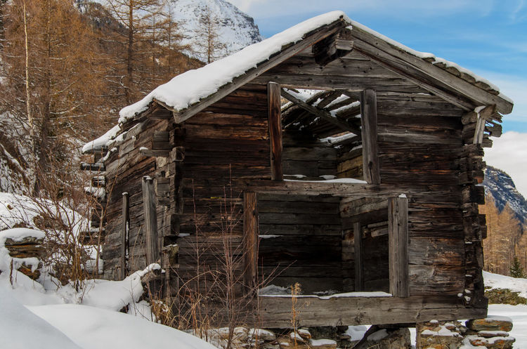 Abandoned Bad Condition Broken Cabin Cabin In The Woods Damaged Day Deterioration Log Messy Obsolete Old Railing Ruined Snow Stack Steps Transient Wood Wood - Material Wooden