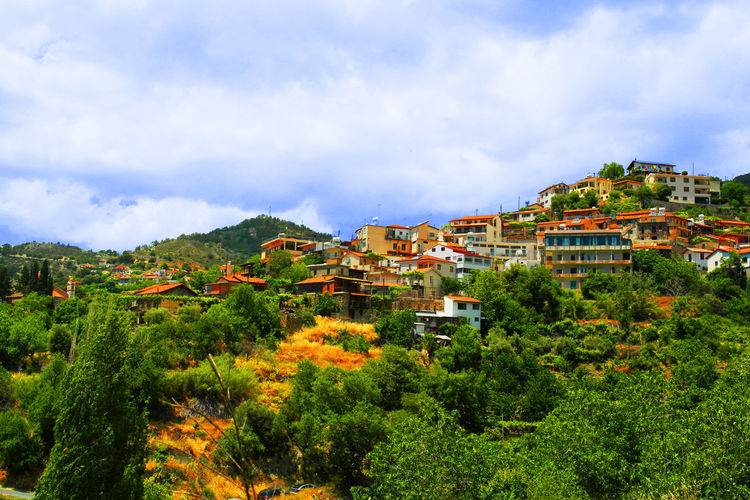 Agros Village, Cyprus Architecture Beauty In Nature Cloud - Sky Day Green Color Live For The Story Mountain Nature No People Outdoors Sky Summer Tree EyeEmNewHere The Week On EyeEm Chemistart Paint The Town Yellow Been There.