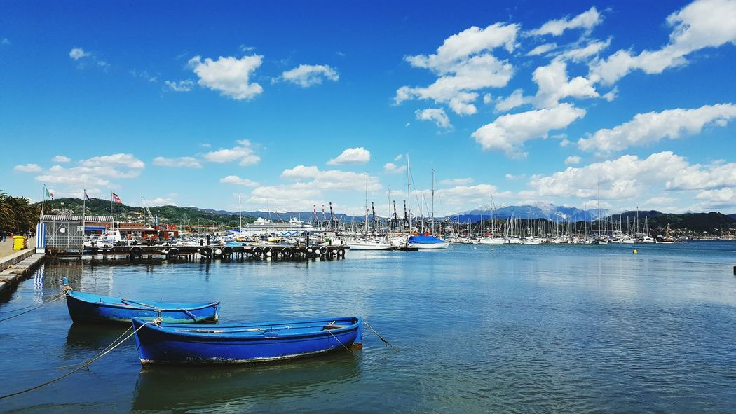 Laspezia Harbour Yachting Boats Mediterranean Sea Water Clouds And Sky