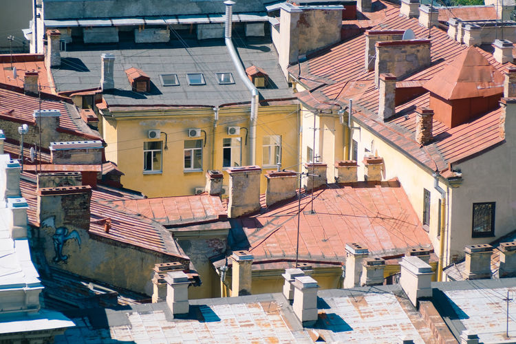 High angle view of houses in town