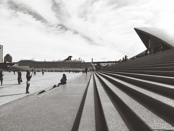 Sydney Opera House Boat Outdoors Tourism Perspective Sydney, Australia Sydney Australia Outdoor Photography Blackandwhite Photography Daylight Black & White Black And White Cruise Ship Opra House Steps Public Shadow Sky Architecture Cloud - Sky Diminishing Perspective vanishing point Staircase The Way Forward Steps And Staircases Stairs Stairway