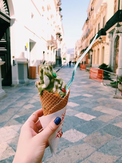 Tasting Sicily ! 🍦🍦🍦 Human Hand Human Body Part Food And Drink Indulgence One Person Holding Real People Unhealthy Eating Sicily, Italy Oldtown Foodphotography Food Building Exterior Temptation Ice Cream Cone Frozen Food Outdoors Architecture Built Structure Ice Cream Freshness Lifestyles
