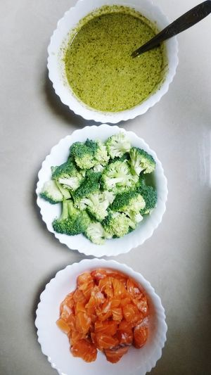 High angle view of chopped vegetables in plate on table