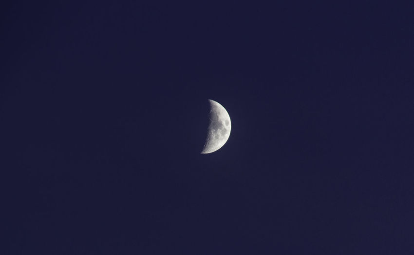 Moon Sky Night Space Astronomy Scenics - Nature Half Moon Tranquility Clear Sky Beauty In Nature