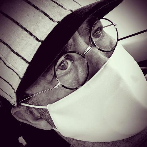 High angle portrait of man wearing eyeglasses