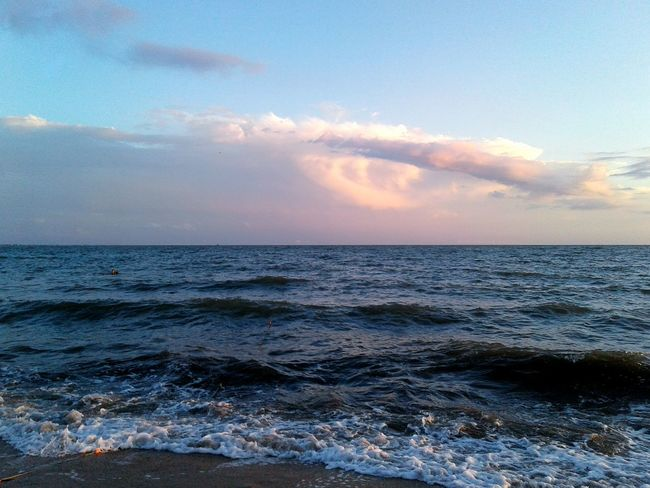 Sea Beach Water Nature Horizon Over Water Cloud - Sky Sunset Sky Beauty In Nature Backgrounds Vacations Landscape Waves Azov Sea