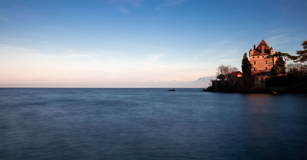 Sky Water Sea Horizon Over Water Scenics - Nature Horizon Beauty In Nature Architecture Built Structure Tranquility Nature Waterfront No People Building Exterior The Past History Tranquil Scene Land Building Outdoors Lac De Genève Haute-Savoie  France Yvoire, France Long Exposure