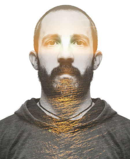 Bearded man portrait. One Person Portrait White Background Mammal Barbed Wire Face Headshot Young Adult