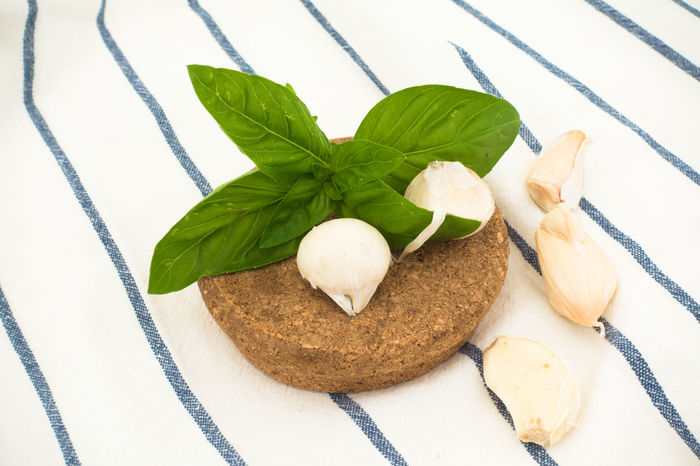 Composition with basil, garlic and cork stopper with striped tablecloth front view Cork Garlic Pesto Alla Genovese Table Cloth Basil Basil And Pesto Close-up Composition Of Food Food Food And Drink Freshness Healthy Eating Herb Indoors  Ingredients For Italian Cooking Italian Food Leaf Light Colors Mint Leaf - Culinary Ready-to-eat Stopper Stripe Table Cloth Stripes Pattern Top View Of Food White Background