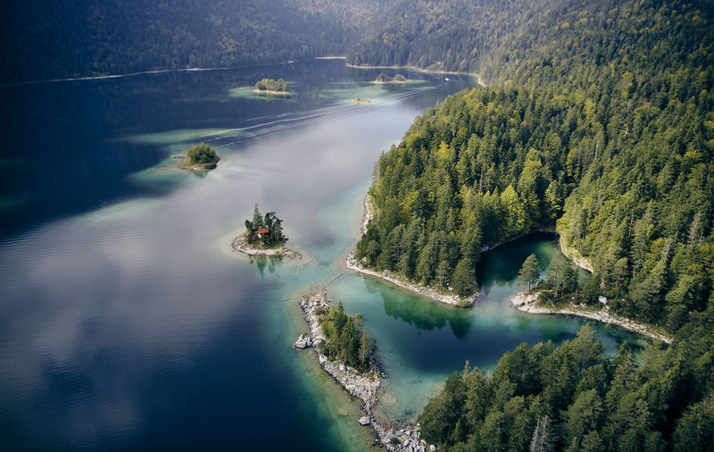 EyeEm Nature Lover EyeEm Best Shots Dji Drone  Dronephotography Eibsee Bayern Bavaria Water Tree Plant Transportation Nautical Vessel Beauty In Nature Nature High Angle View Scenics - Nature Day Mode Of Transportation River Tranquil Scene No People Tranquility Non-urban Scene Land Travel Motion Outdoors