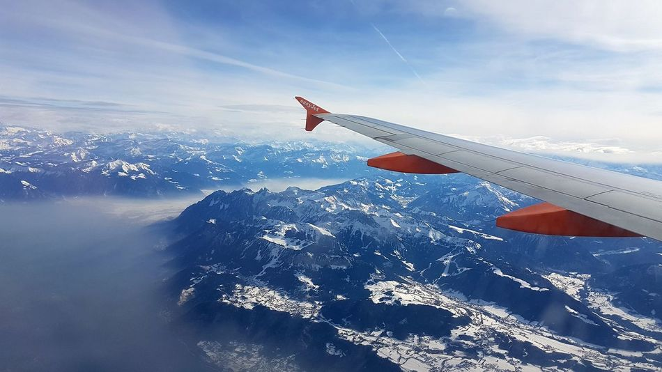 Cloud - Sky Winter Winter Wonderland Getaway  EasyJet Flying In The Sky Photography Picoftheday Forest Alps Switzerland Cloud - Sky Day Outdoors Sky Nature Close-up Flying Plane Snow ❄ Swiss Alps Switzerland❤️ Switzerland_vacations Air Vehicle Airplane Wing Aircraft Wing Aeroplane Mid-air Aircraft Holiday Moments