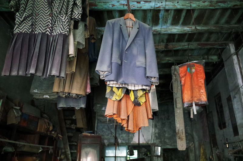 Abandoned Abandoned Places Clothing Creepy Dead Nature Decay For Sale Hanging In A Row Indoors  Nature Morte Old Fashioned Retail  Spirituality Urbex 來不及 西螺