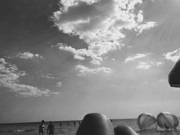 Black & White Monochrome Being A Beach Bum Sun Relaxing