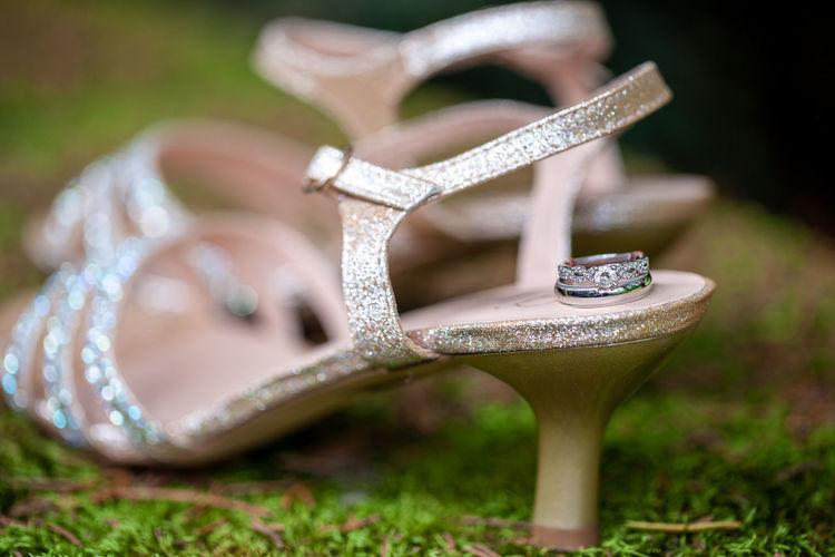 Focus On Foreground Close-up Selective Focus Shoe Sandal Fashion High Heels Diamond - Gemstone Diamond Ring Wedding Wedding Photography