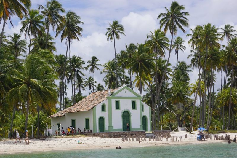 People by palm trees and church against sky